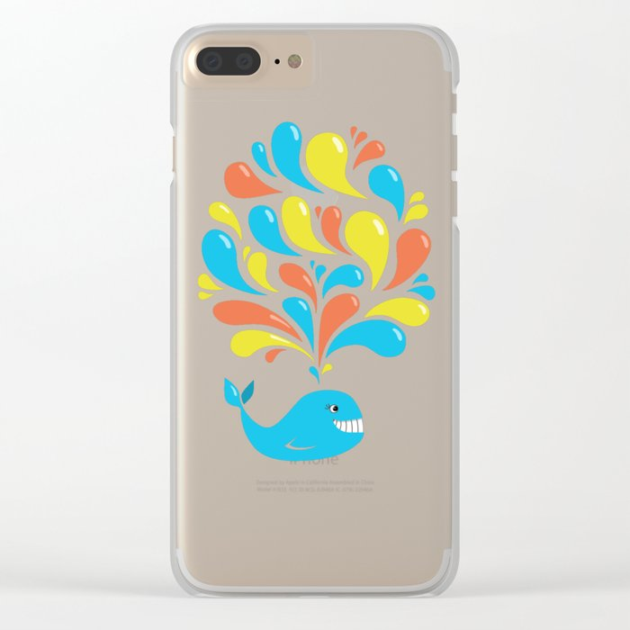 Colorful Swirls Happy Cartoon Whale Clear iPhone Case