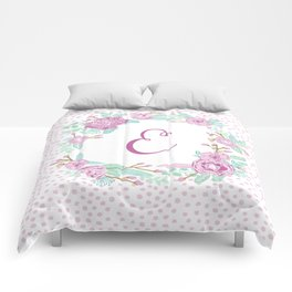 Monogram E - cute girls purple florals flower wreath, lilac florals, baby girl, baby blanket Comforters