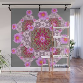 Grey Abstract Pink Roses Floral Pattern Wall Mural