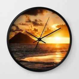 Sunrise Ocean view at Lanikai Beach Hawaii Wall Clock
