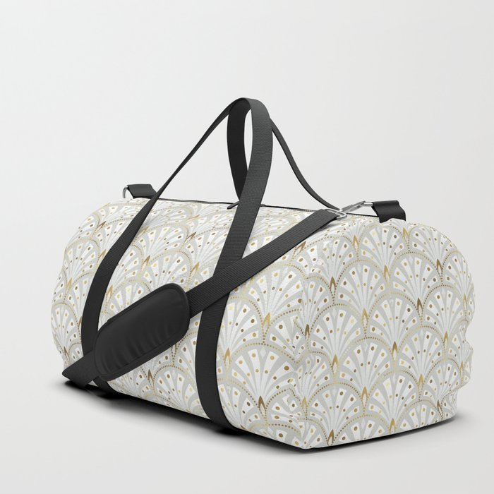 marble and gold art deco scales pattern Duffle Bag