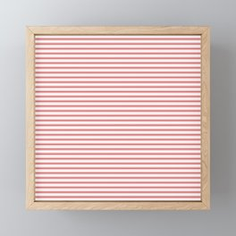 Mattress Ticking Narrow Striped Pattern in Red and White Framed Mini Art Print