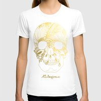gold foil T-shirts featuring Gold Foil Patterned Skull by RsDesigns