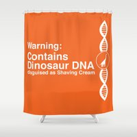 dna Shower Curtains featuring Dinosaur DNA by Ryder Doty