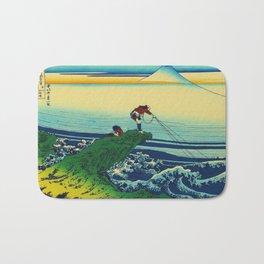 Vintage Japanese Art - Man Fishing Bath Mat