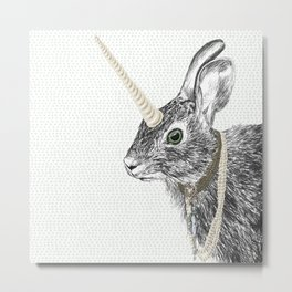 uni-hare All animals are magical Metal Print