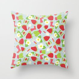 Strawberry Fields Floral Pattern Throw Pillow