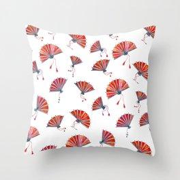 Red oriental fans Throw Pillow