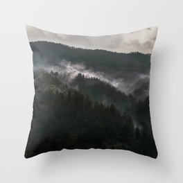 Foggy morning it Serbian mountains Throw Pillow