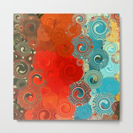 Turquoise and Red Swirls Metal Print
