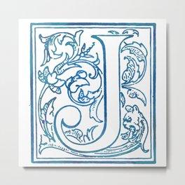 Letter J Elegant Antique Floral Letterpress Monogram Metal Print