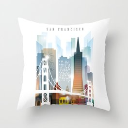 City of San Francisco painting Throw Pillow