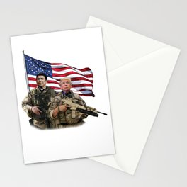 Presidential Soldiers: Ronald Reagan & Donald Trump USA Flag Stationery Cards
