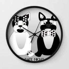 Date Night  - French Bulldogs Wall Clock