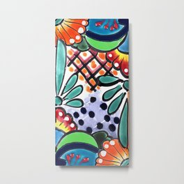Colorful Talavera, Green Accent, Mexican Tile Design Metal Print