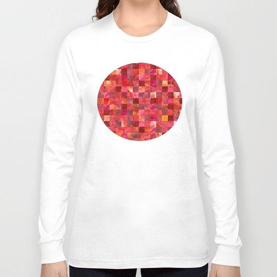 Red Geometric Pattern Long Sleeve T-shirt