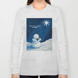 Until Us A Child Is Born  Snowmen Painting By Annie Zeno Long Sleeve T-shirt