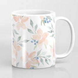 Peach Watercolor Flowers Coffee Mug