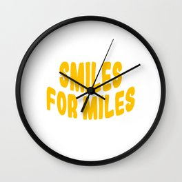 """A Nice Running Tee For Runners Saying """"Smiles For Miles"""" T-shirt Design Healthy Lifestyle Smiley Wall Clock"""