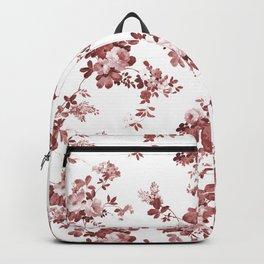 Shabby vintage coral burgundy brown roses floral Backpack