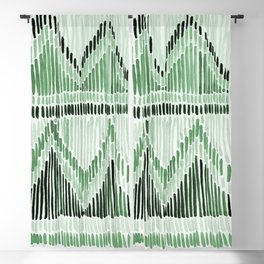 Chilili Watercolor Print in Dark Green Blackout Curtain