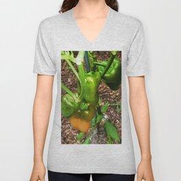 Green bell pepper hanging on tree Unisex V-Neck