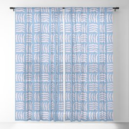 Pink Woven Wiggles on Blue Sheer Curtain