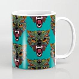 wolf fight flight teal Coffee Mug