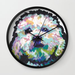 maltese poodle Maltipoo Dog Portrait Pop Art painting by Lea Wall Clock