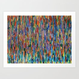 Bright Colorful Abstract Art with Red, Blue, Green, Purple, Yellow, Multicolor Striped Lines Art Print