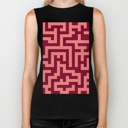 Coral Pink and Burgundy Red Labyrinth Biker Tank