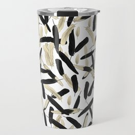 Black and White Feather Repeating Pattern Travel Mug