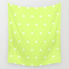 Big white polka dots pattern on light lime green background Wall Tapestry
