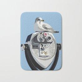 Seagull on Binoculars by the Ocean Illustrated Print Bath Mat