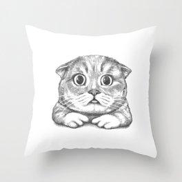 British Shorthair Cat hand drawn Throw Pillow