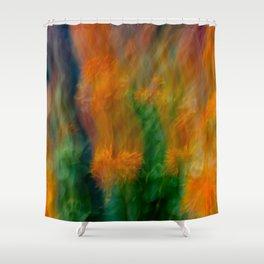 Fleur Blur-Abstract Orange Safflowers & Green Leaves Shower Curtain