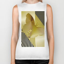 Butterfly and stripes, sepia Biker Tank