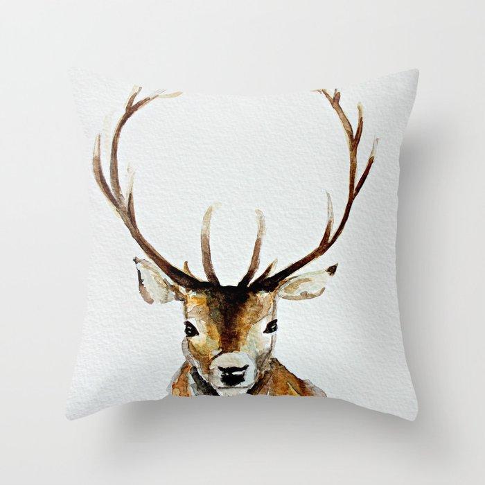 Buck - Watercolor Throw Pillow