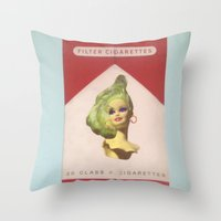 cigarette Throw Pillows featuring Cigarette Barbie by Hayleydonovan