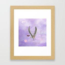 Cute little pegasus with butterflies Framed Art Print