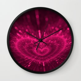 Purple Love Heart, Happy Valentine's Day Pattern Wall Clock