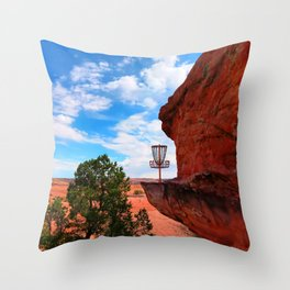 Disc Golf Basket in Moab Utah Throw Pillow
