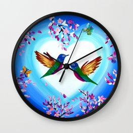 Hummingbirds and Cherry Blossoms with Butterflies Wall Clock