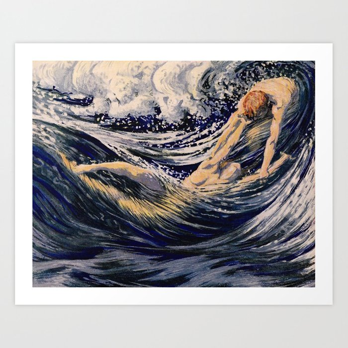"""""""Two fishes swimming in the sea not more lawless than we"""" Kunstdrucke"""
