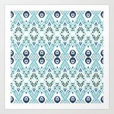 Ikat Java Blue Art Print