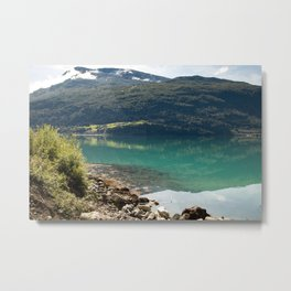 A green lake in de mountains of Norway  | nature photo | fine art photo print | travel photography Metal Print