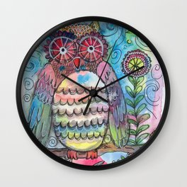 Whimsy Whimsical Owl Watercolor Wall Clock