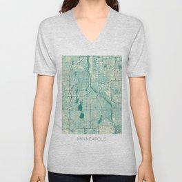Minneapolis Map Blue Vintage Unisex V-Neck