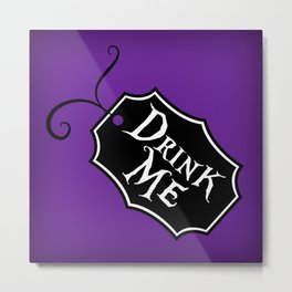 """""""Drink Me"""" Alice in Wonderland styled Bottle Tag Design in 'Shy Violets' Metal Print"""
