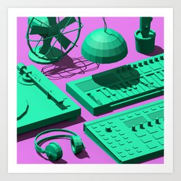 Low Poly Studio Objects 3D Illustration Art Print